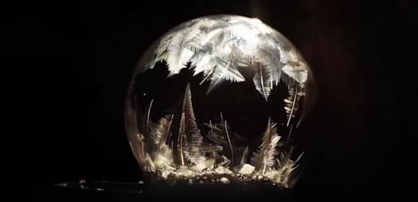 Watch soap bubbles freeze