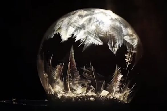 Watch soap bubbles freeze
