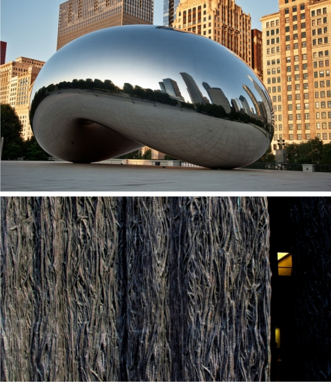 Cloud Gate de Anish Kapoor, instalada en Chicago en 2004 y las puertas de la ampliación Museo del Prado de Madrid, obra de Cristina Iglesias de 2007. Fotografías: Steve Wright Jr. y Jacinta Lluch Valero (CC)