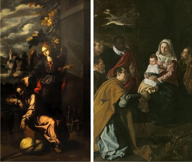 Sueño de San José, Francisco Pacheco, 1617 y Adoración de los Magos, Diego Velázquez, 1619.