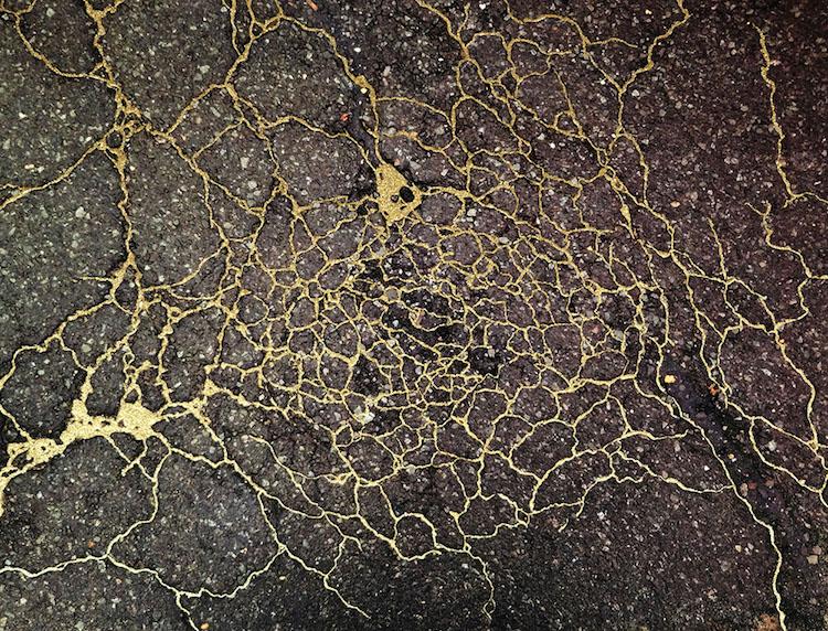 """Study for Sidewalk Kintsukuroi #01 (New Haven, Connecticut),"" photograph with enamel paint and metallic dust"