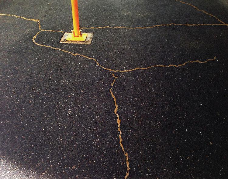"Study for Sidewalk Kintsukuroi #02 (MASS MoCA),"" photograph with enamel paint and metallic dust"